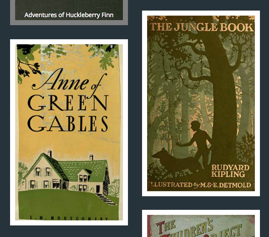 "Covers of children's books including ""The Jungle Book"" and ""Anne of Green Gables"""