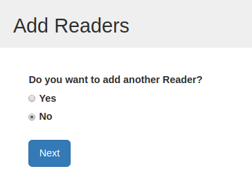 "image of the ""Add Another Reader"" prompt screen"