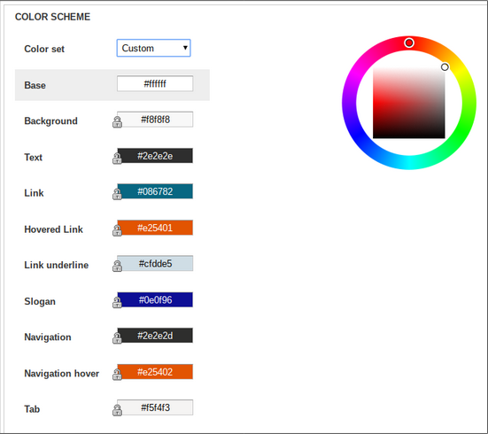 image of color selection screen