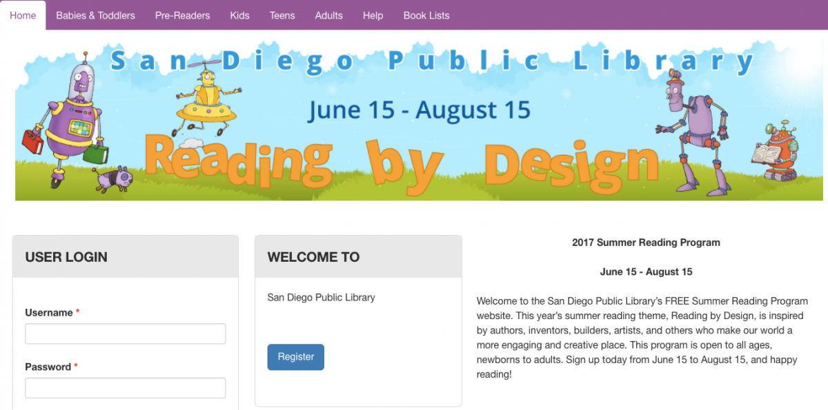 Screenshot of San Diego Public Library 2017 Summer Reading Program Website
