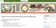 Screenshot of Thousand Oaks Public Library 2017 Summer Reading Program Website
