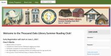 Screenshot of Thousand Oaks Public Library 2017 Summer Reading Program Website