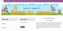 Screenshot of San Diego Public Library 2017 Summer Reading Program Website